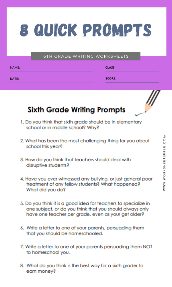 6th grade writing worksheets 2