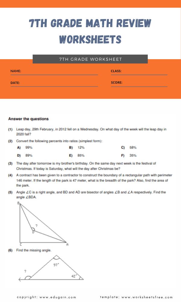 7th grade math review worksheets 1