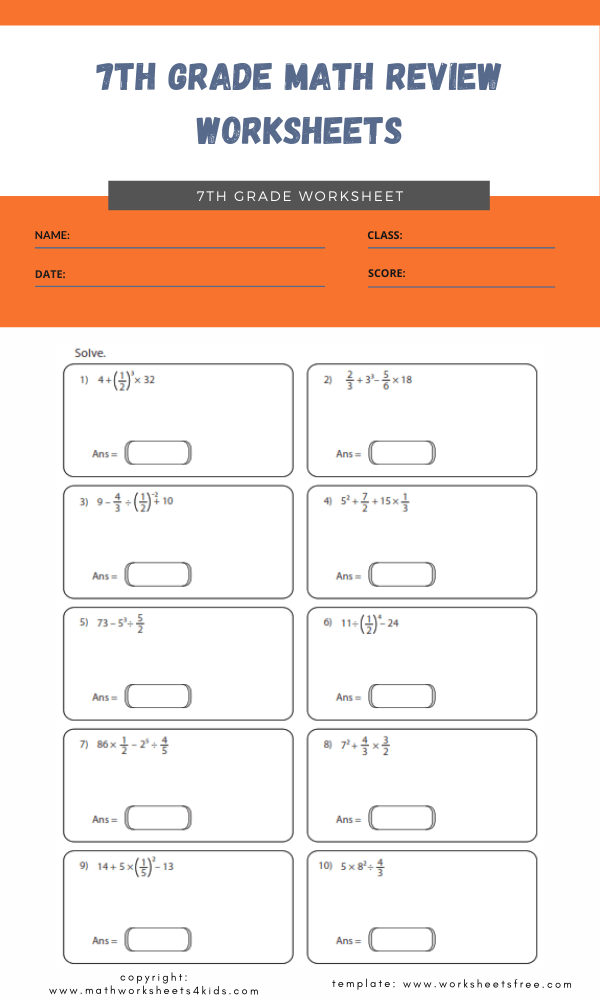 7th grade math review worksheets 3