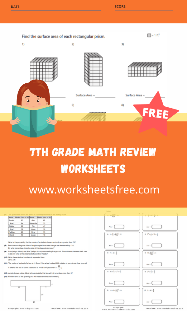7th grade math review worksheets