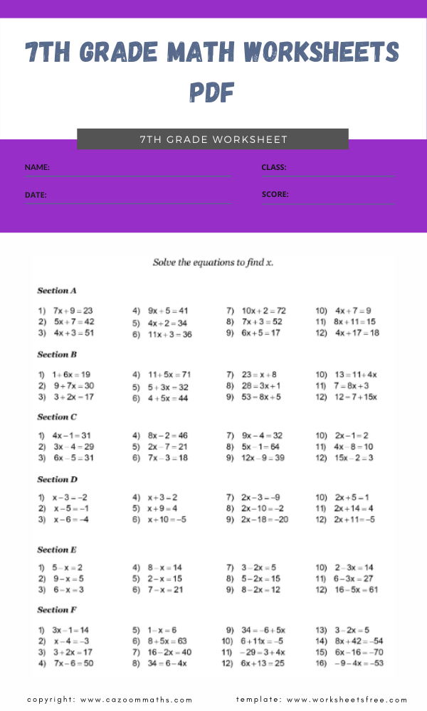7th grade math worksheets pdf 5