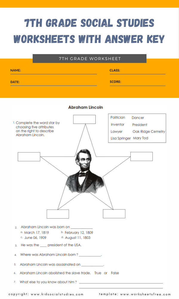 7th grade social studies worksheets with answer key 7
