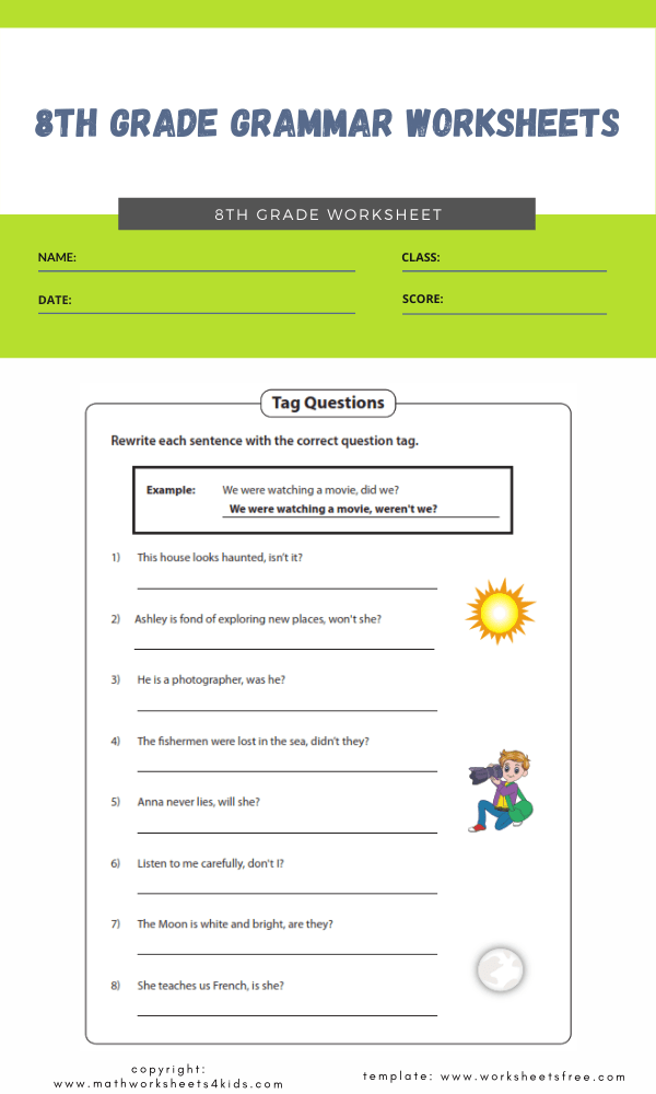 8th grade grammar worksheets3