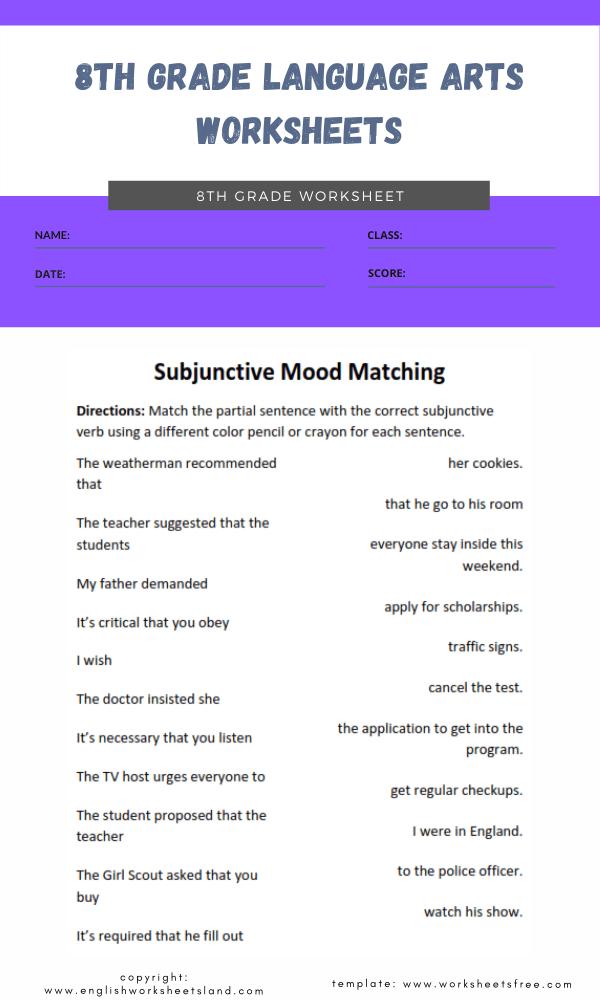 8th grade language arts worksheets 3