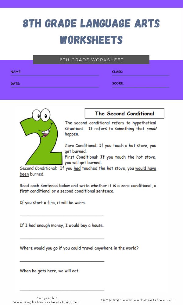 8th grade language arts worksheets 5