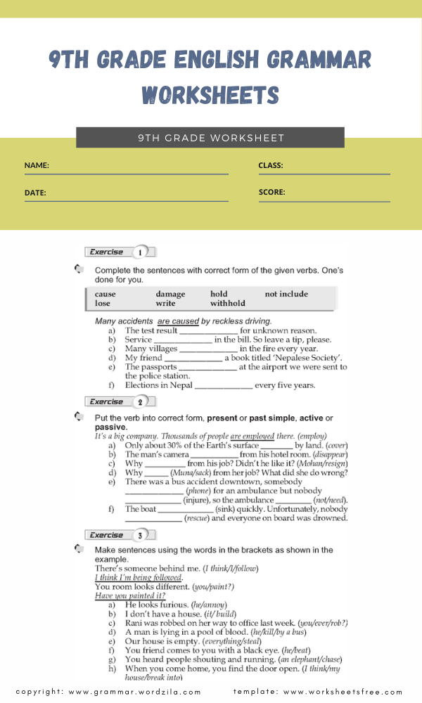 9th grade english grammar worksheets3
