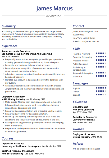 Accountant Resume Example 3