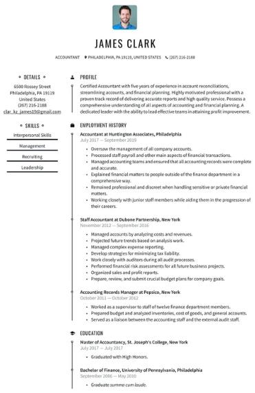 Accountant Resume Example 4