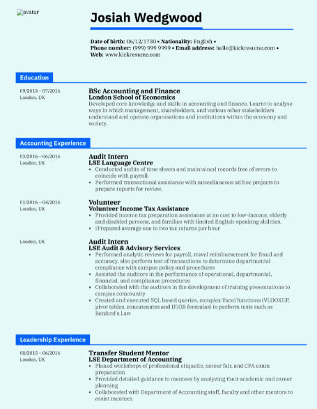 Accounting Student Resume Sample 2