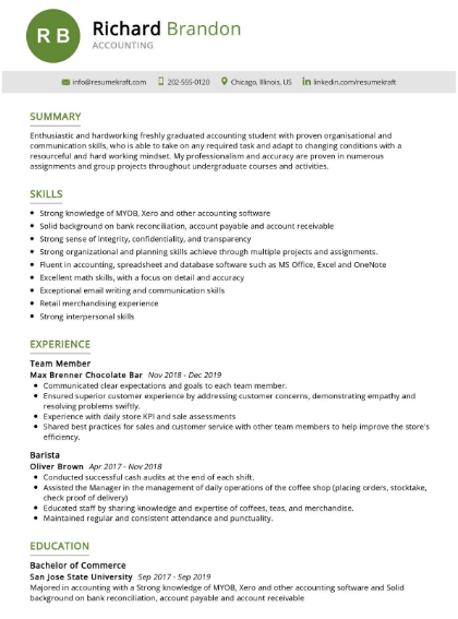 Accounting Student Resume Sample 3