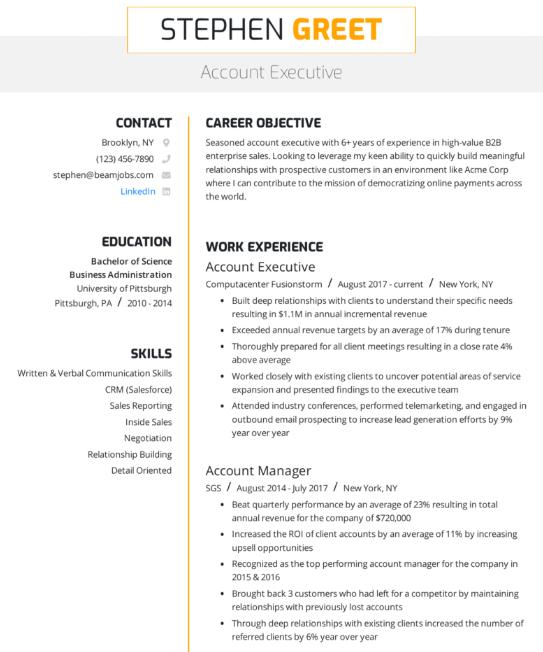 Accounts Executive Resume Example 1