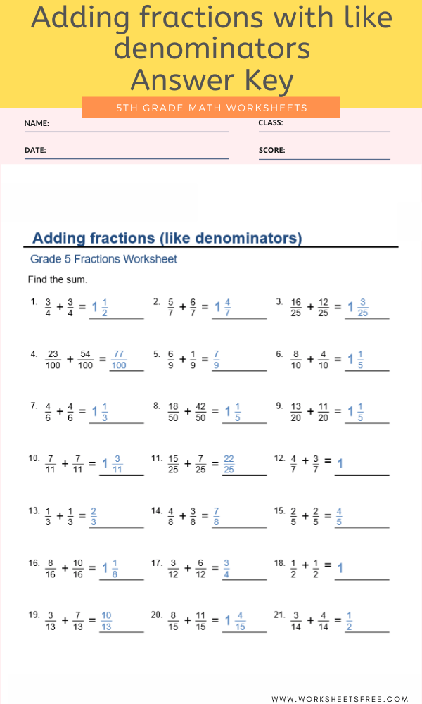 Adding fractions with like denominators For Grade 5 Answer Key