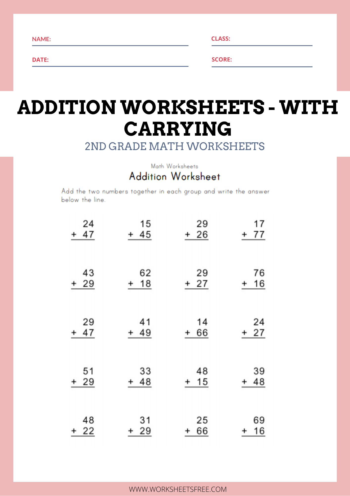 Addition Worksheets With Carrying Math Worksheets