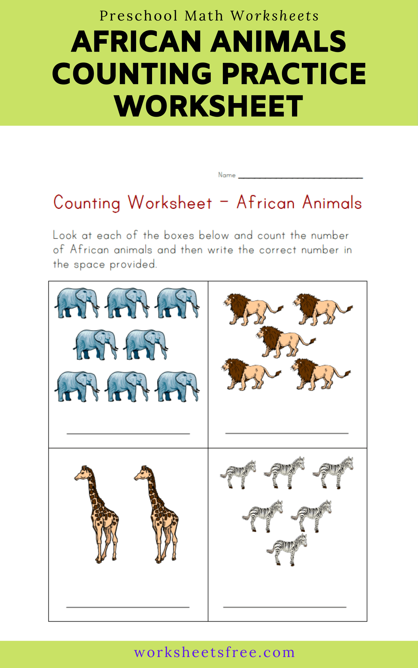 African Animals Counting Practice Worksheet