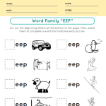 All in the Word Family Eep Words - Phonics Worksheets Grade 1