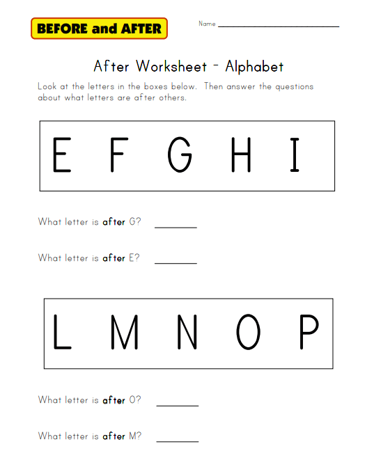Alphabet After Worksheet