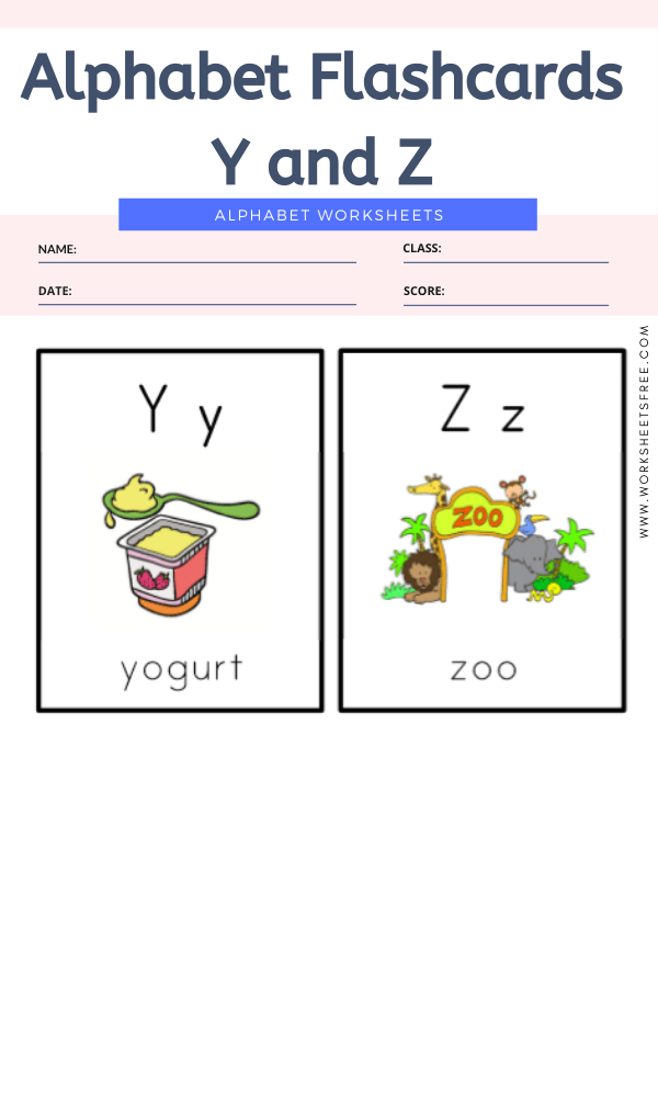 Alphabet Flashcards Y and Z