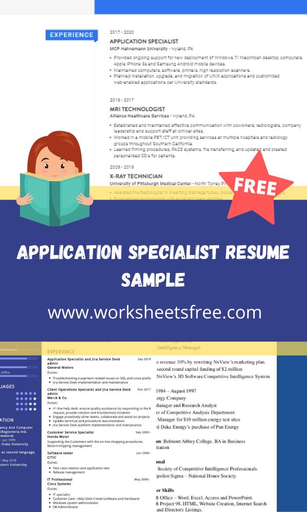 Application Specialist Resume Sample