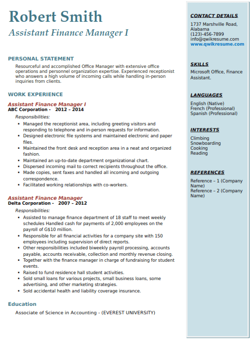 Assistant Finance Manager Resume Example 1