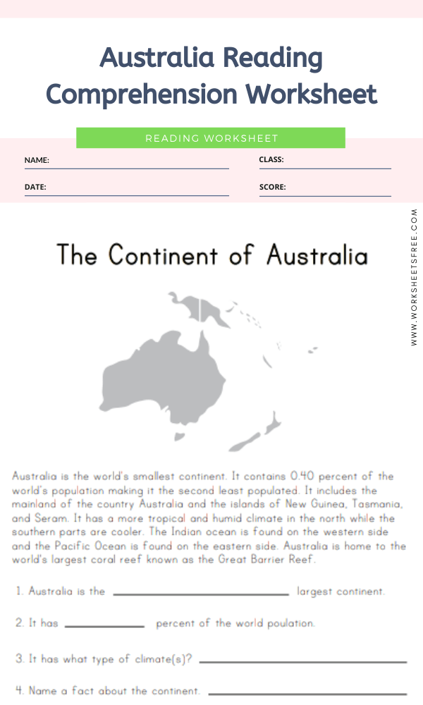 Australia Reading Comprehension Worksheet Geography Worksheets