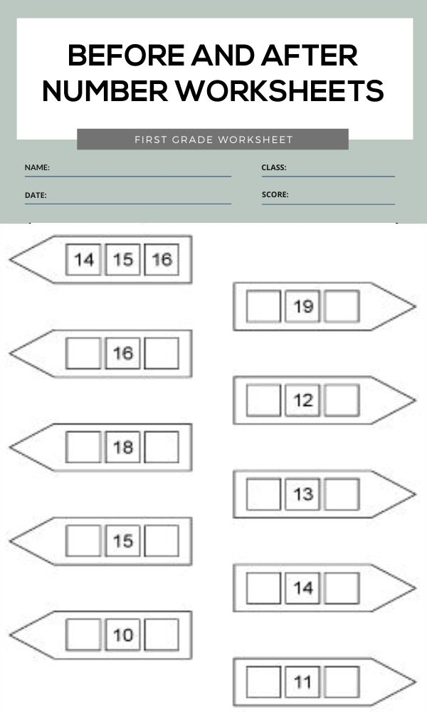 Before and After Number Worksheets 1