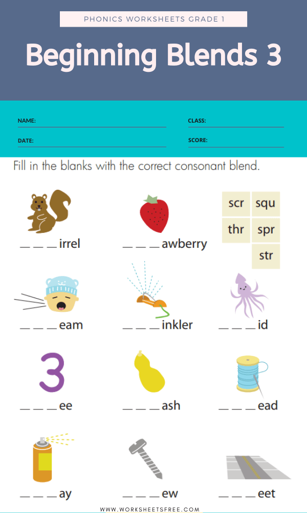Beginning Blends 3 - Phonics Worksheets Grade 1