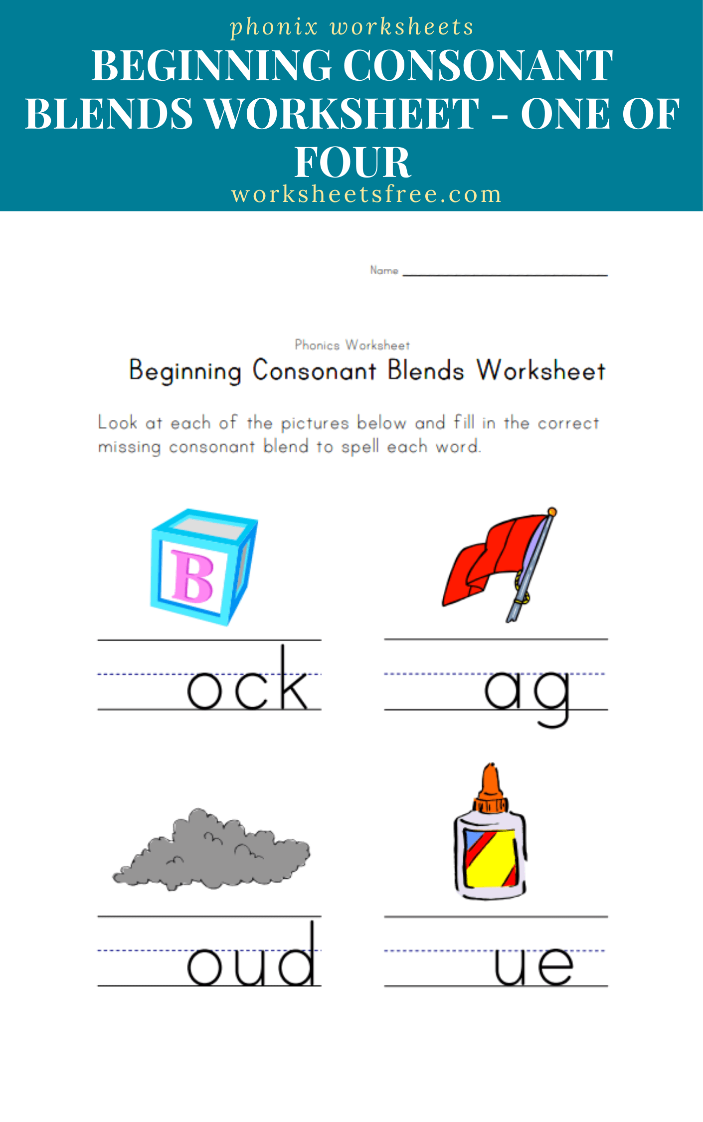 Beginning Consonant Blends Worksheet One Of Four