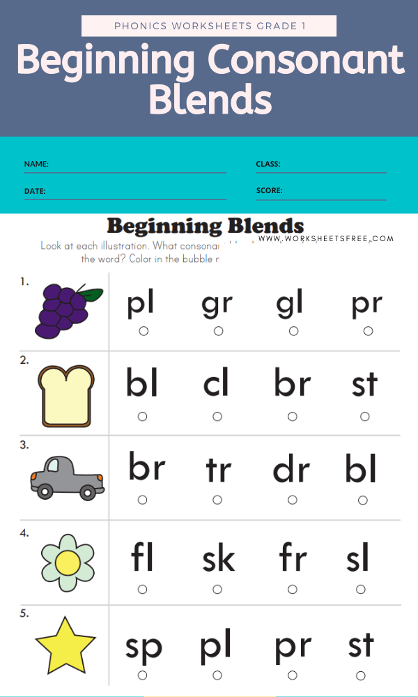 Beginning Consonant Blends - Phonics Worksheets Grade 1