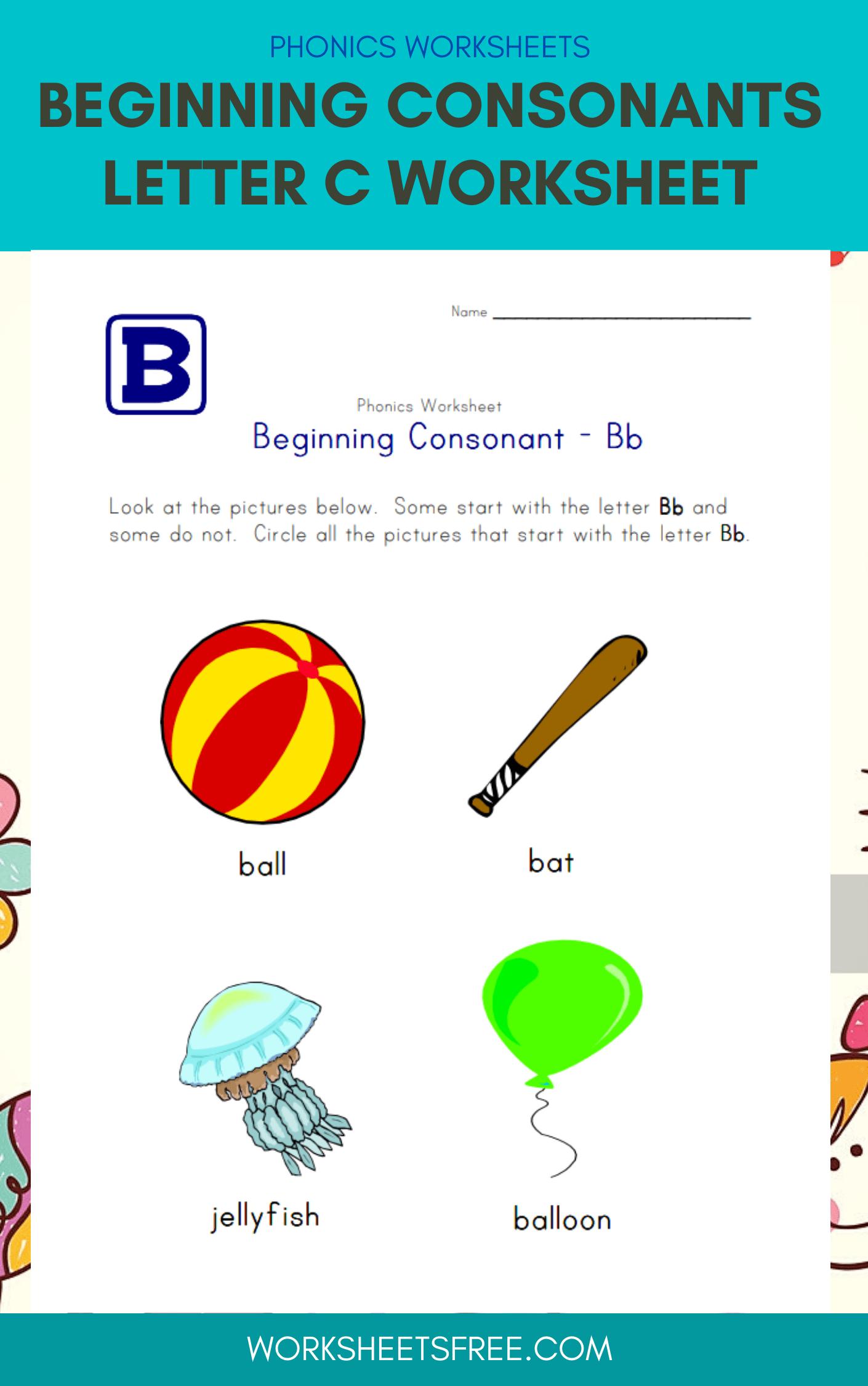 Beginning Consonants Letter C Worksheet