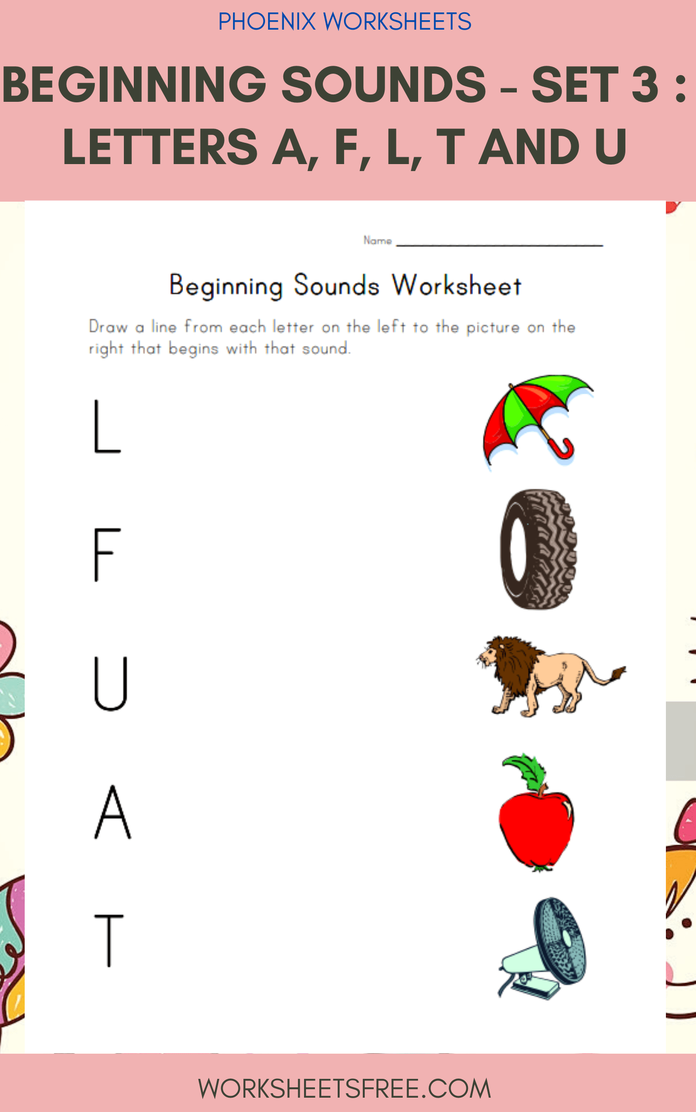 Beginning Sounds Set 3 Letters A F L T And U