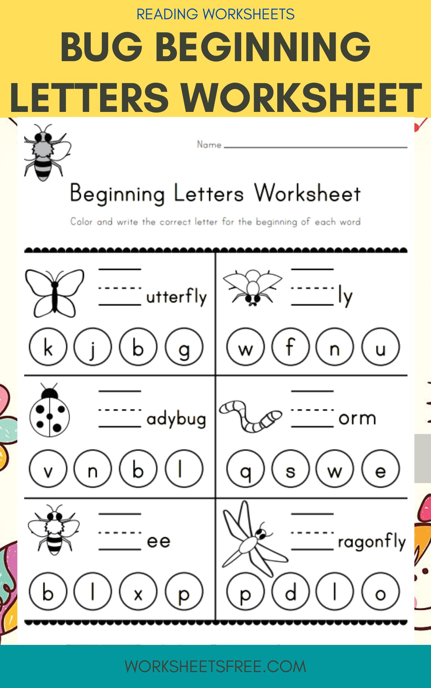 Bug Beginning Letters Worksheet