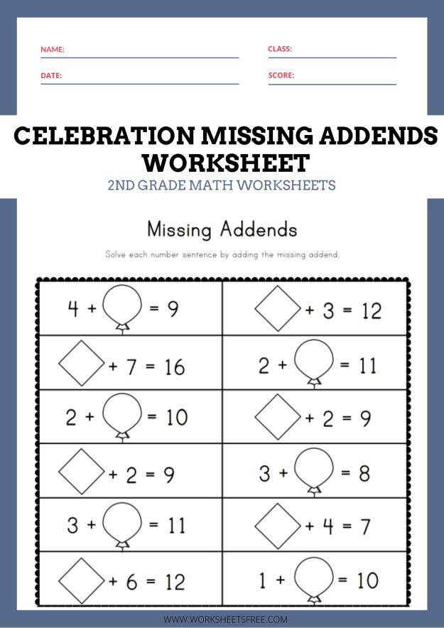 Celebration Missing Addends Worksheet