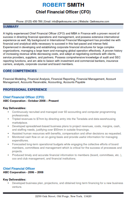Chief Financial Officer Resume Sample 2