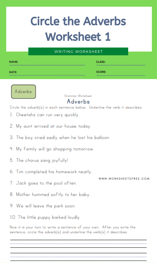 Circle the Adverbs Worksheet 1