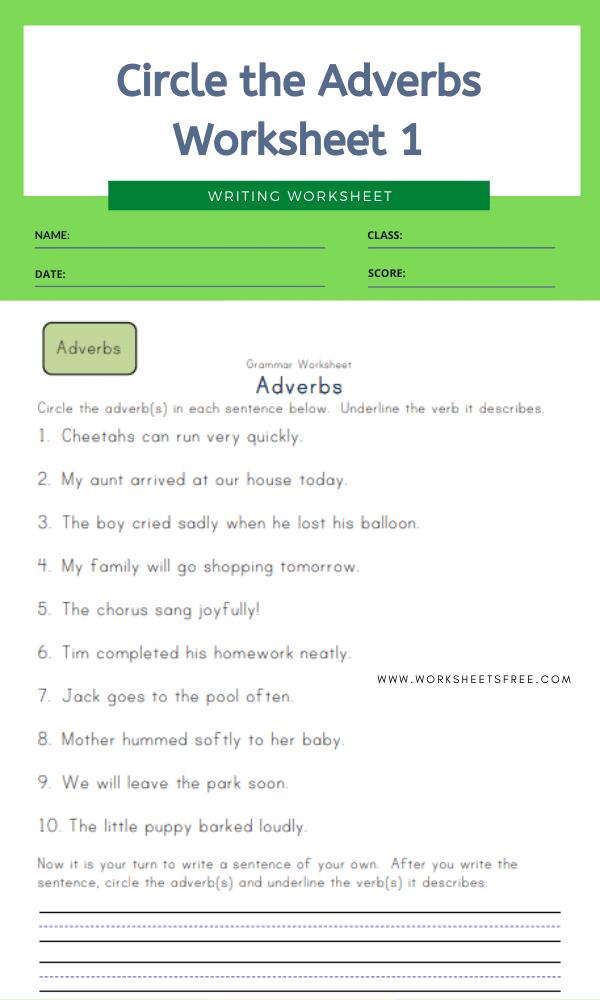 Circle the Adverbs Worksheet 1