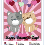 Color By Number worksheets Kitten Couple