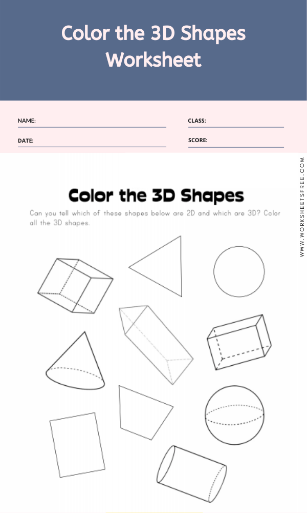 Color the 3D Shapes Worksheet