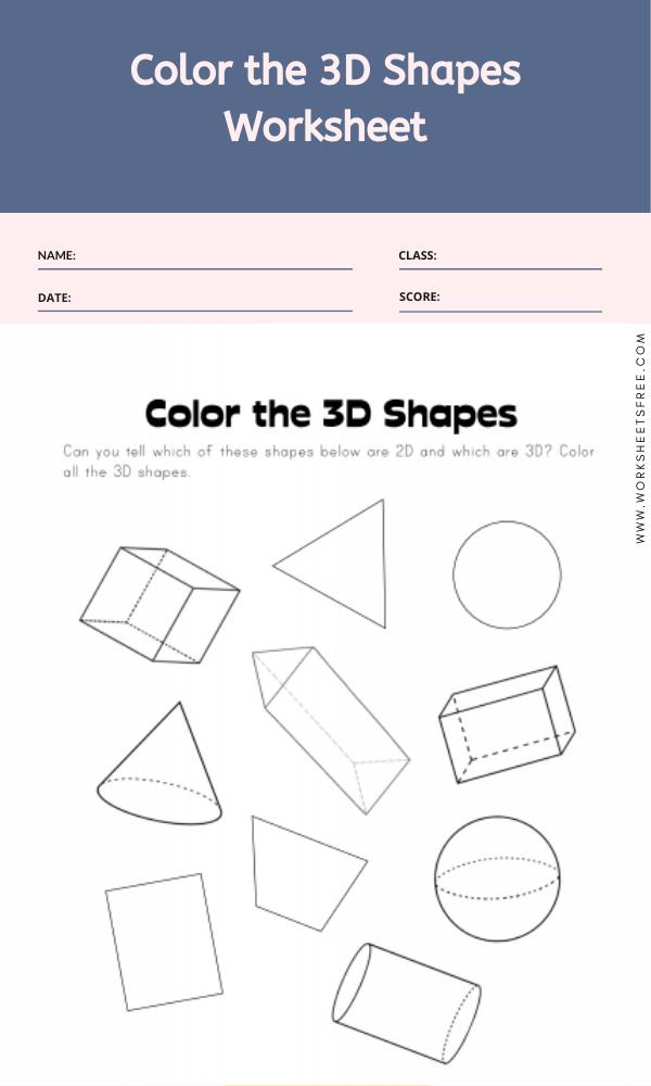Color the 3D Shapes Worksheet