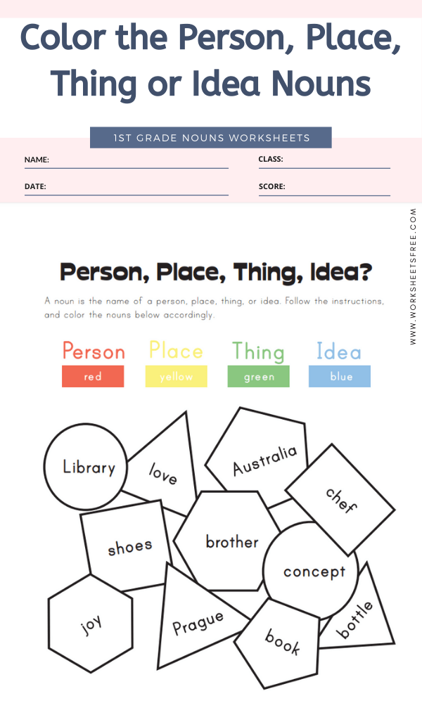 Color the Person, Place, Thing or Idea Nouns
