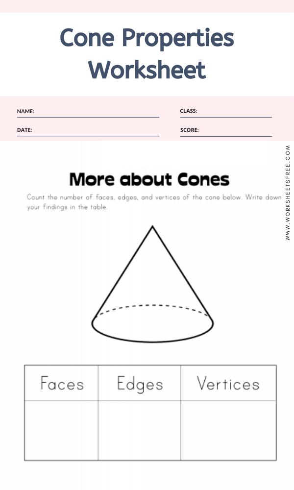 Cone Properties Worksheet