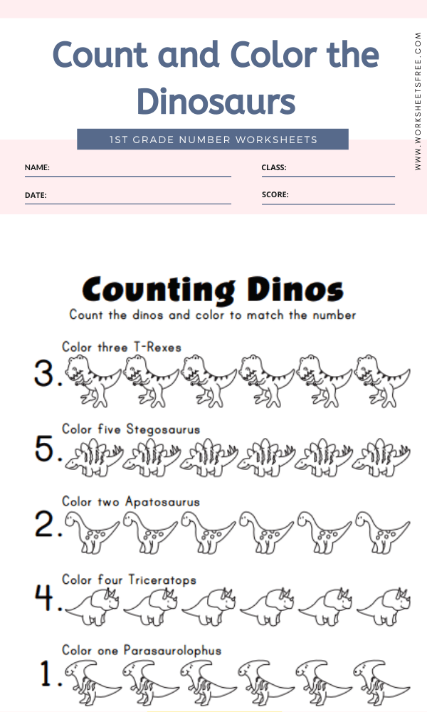 Count and Color the Dinosaurs