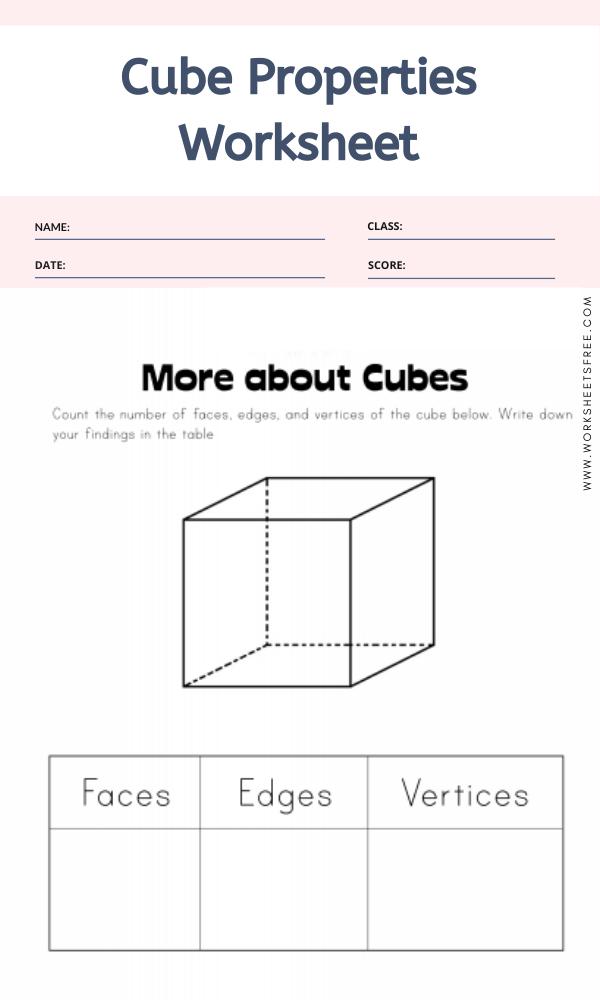 Cube Properties Worksheet