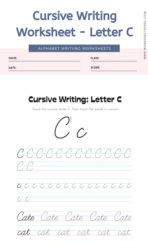 Cursive Writing Worksheet - Letter C Alphabet Worksheets