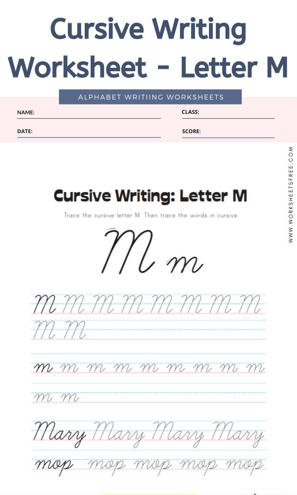 Cursive Writing Worksheet - Letter M Alphabet Worksheets