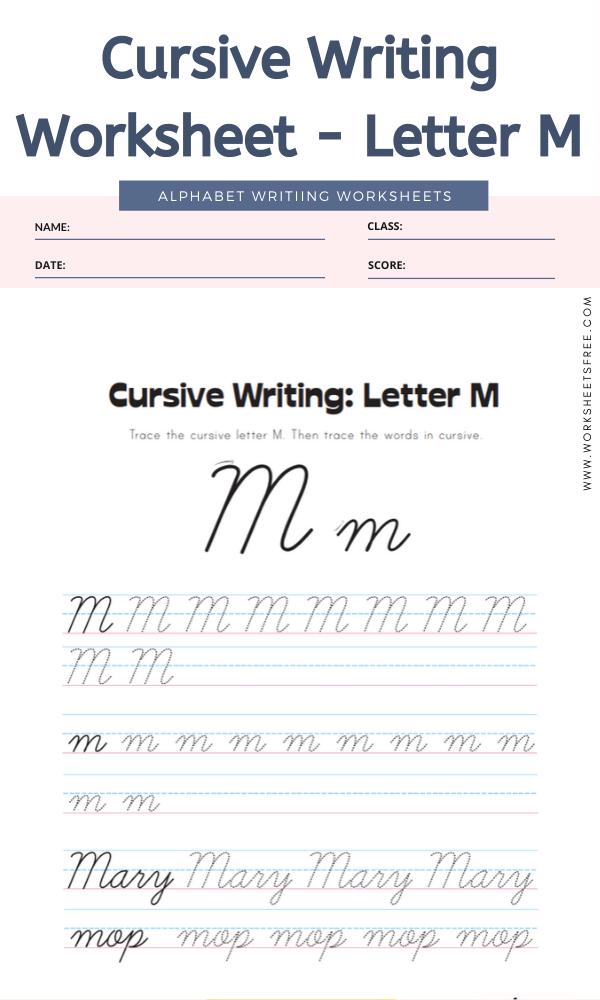 Cursive Writing Worksheet - Letter M Alphabet Worksheets