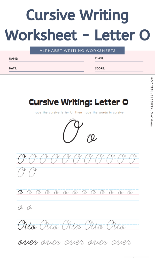 Cursive Writing Worksheet - Letter O Alphabet Worksheets