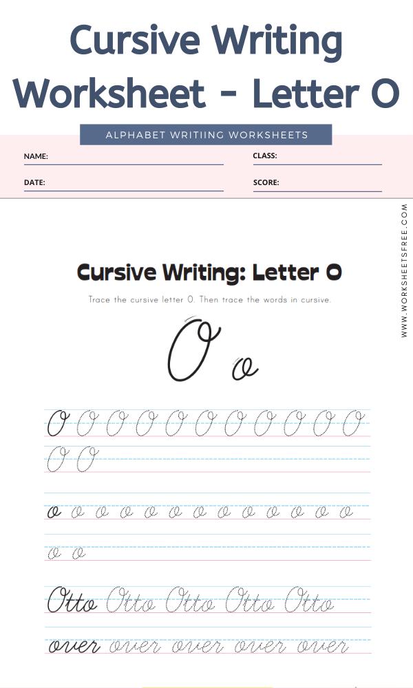 Cursive Writing Worksheet - Letter O Alphabet Worksheets
