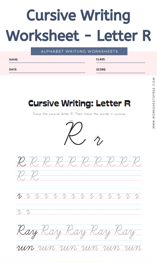 Cursive Writing Worksheet - Letter R Alphabet Worksheets