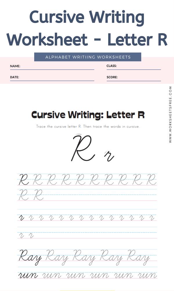 Cursive Writing Worksheet - Letter R Alphabet Worksheets