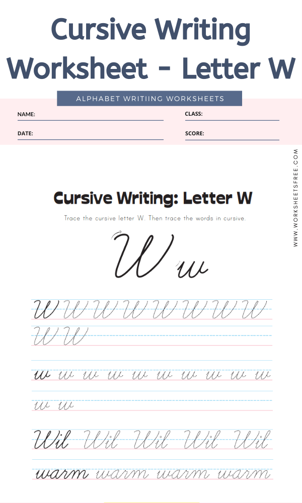 Cursive Writing Worksheet - Letter W Alphabet Worksheets